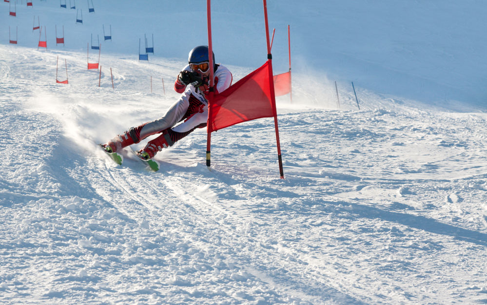 Competitions on mountain ski, parallel slalom